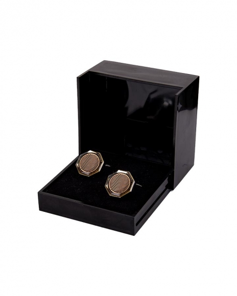 Luxury Hexagon Copper Color Enamel Cufflinks C 01
