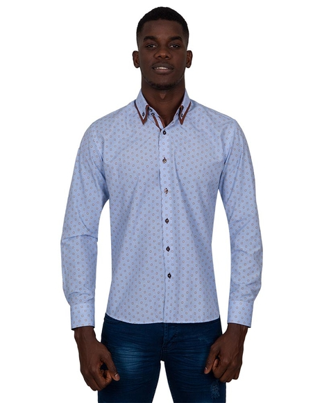 MAKROM - Luxury Honeycomb Patterned Long Sleeved Double Collar Mens Shirt SL 6814