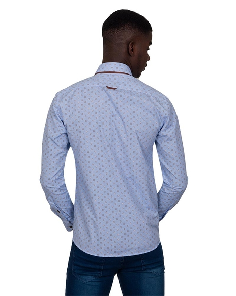 MAKROM - Luxury Honeycomb Patterned Long Sleeved Double Collar Mens Shirt SL 6814 (1)