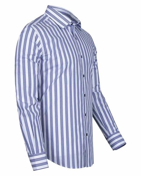 MAKROM - Luxury Long Sleeved Cotton Striped Shirt 5405 (1)