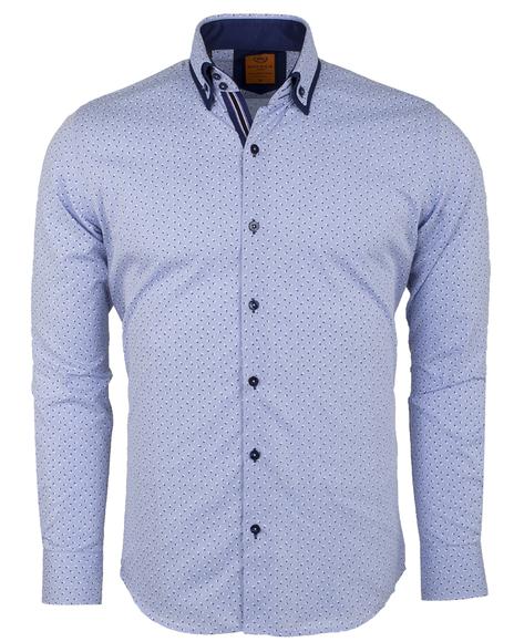 MAKROM - Luxury Long Sleeved Double Collar Mens Shirt SL 6495