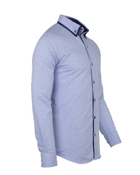 MAKROM - Luxury Long Sleeved Double Collar Mens Shirt SL 6495 (1)