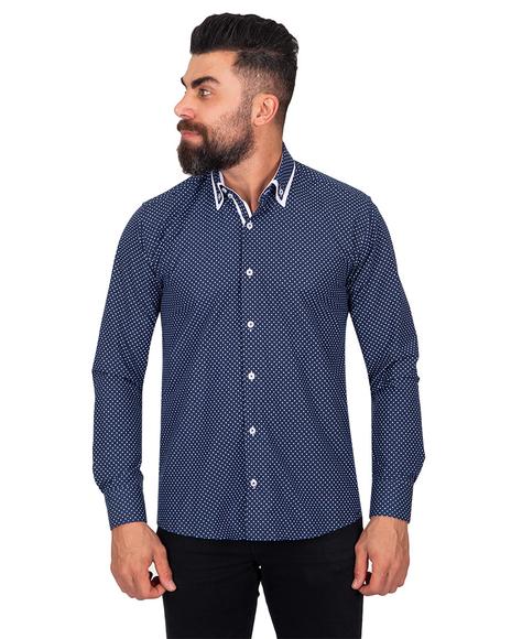 MAKROM - Luxury Makrom Polka Dot Printed Mens Double Collar Shirt SL 6813 (Thumbnail - )