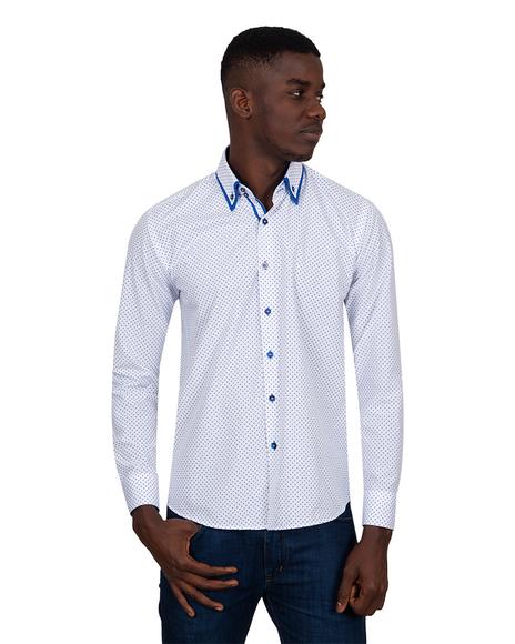 MAKROM - Luxury Makrom Polka Dot Printed Mens Double Collar Shirt SL 6813