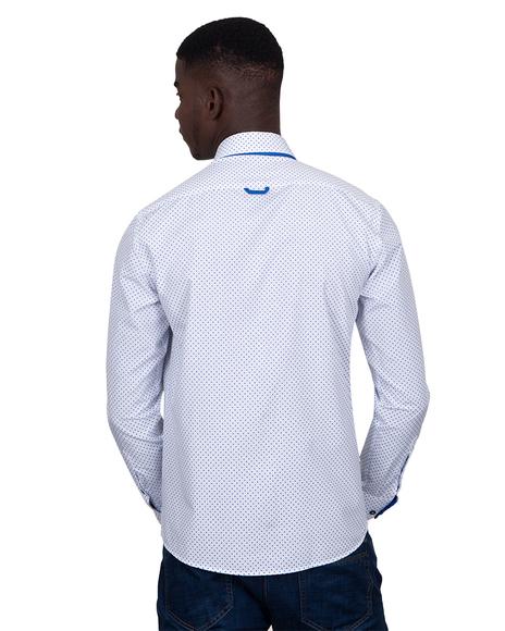 MAKROM - Luxury Makrom Polka Dot Printed Mens Double Collar Shirt SL 6813 (1)