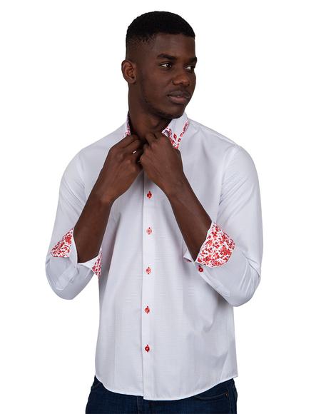 MAKROM - Luxury Makrom Textured Long Sleeved Plain Double Collar Mens Shirt SL 6800