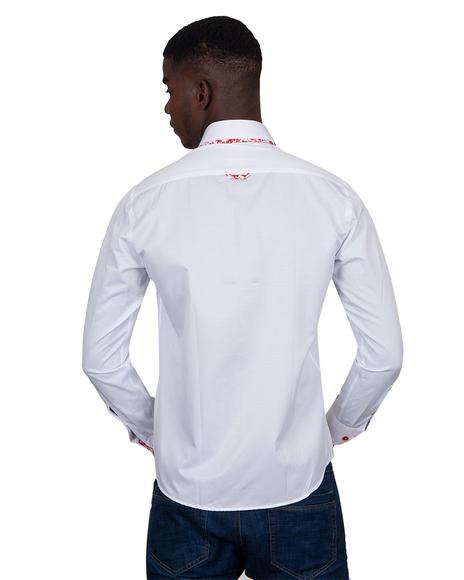 MAKROM - Luxury Makrom Textured Long Sleeved Plain Double Collar Mens Shirt SL 6800 (1)
