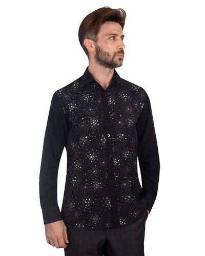 MAKROM - Luxury Mens Accessoried Shirt SL 7075