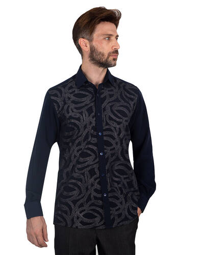 MAKROM - Luxury Mens Accessoried Shirt SL 7076