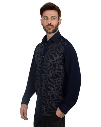 MAKROM - Luxury Mens Accessoried Shirt SL 7076 (1)