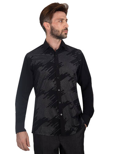MAKROM - Luxury Mens Accessoried Shirt SL 7078