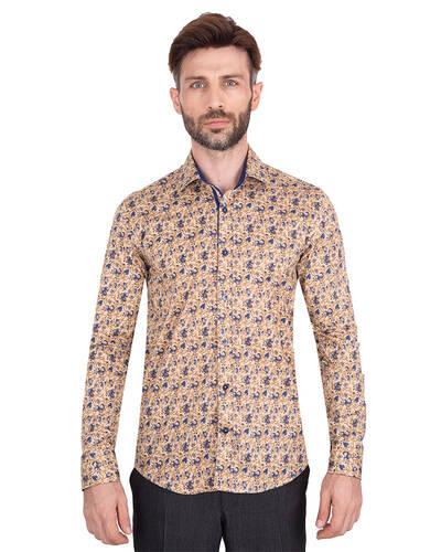 MAKROM - Luxury Mens Long Sleeved Floral Printed Shirt SL 7071