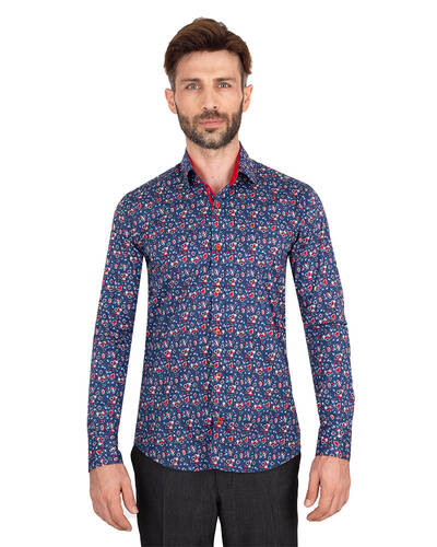 MAKROM - Luxury Mens Long Sleeved Floral Printed Shirt SL 7071 (Thumbnail - )