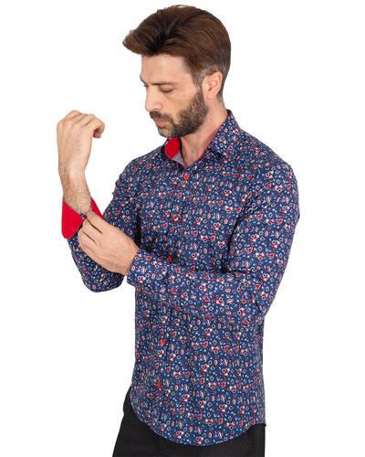 Luxury Mens Long Sleeved Floral Printed Shirt SL 7071