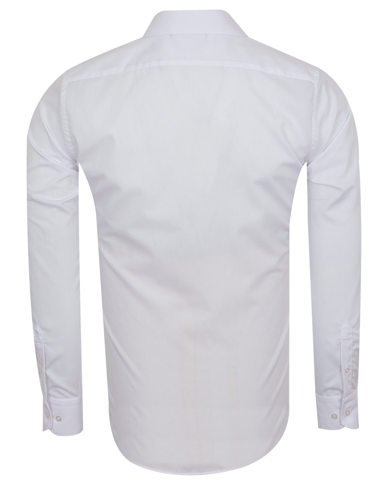 Luxury Mens Plain Long Sleeved Shirt with Necktie Set SL 7121K - Thumbnail