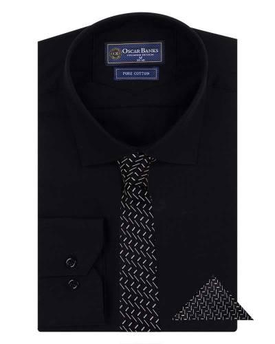 Oscar Banks - Luxury Mens Plain Long Sleeved Shirt with Necktie Set SL 7121K (1)
