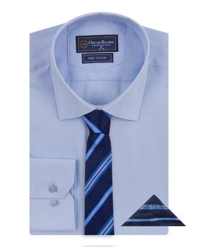 Oscar Banks - Luxury Mens Plain Long Sleeved Shirt with Necktie Set SL 7121K (Thumbnail - )