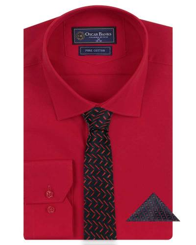 Oscar Banks - Luxury Mens Plain Long Sleeved Shirt with Necktie Set SL 7121K