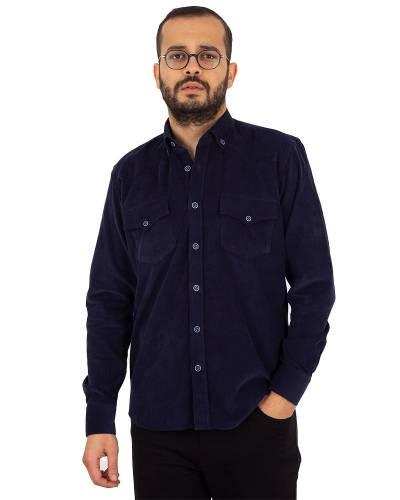 MAKROM - Luxury Mens Pure Cotton Black Long Sleeved Shirt SL 7124