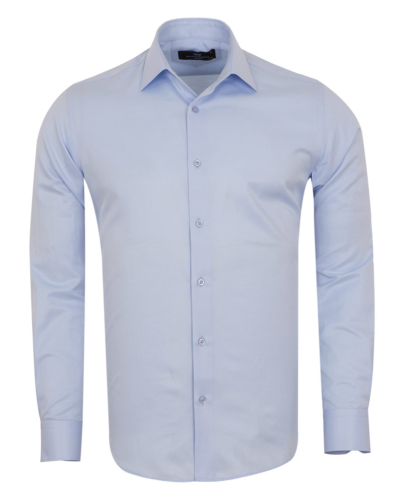 MAKROM - Luxury Mens Textured Plain Shirt with Necktie Set SL 7122K (Thumbnail - )