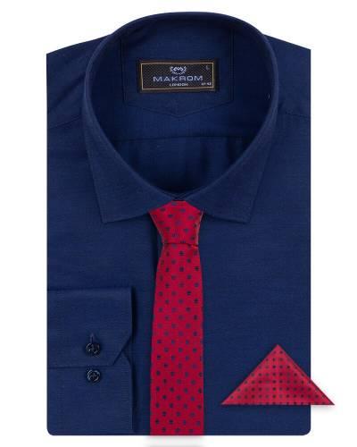 MAKROM - Luxury Mens Textured Plain Shirt with Necktie Set SL 7122K