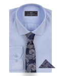 Luxury Mens Textured Plain Shirt with Necktie Set SL 7122K - Thumbnail
