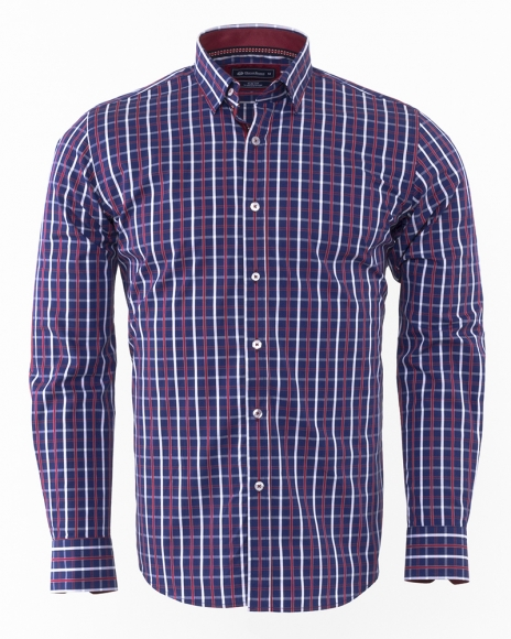 Oscar Banks - Luxury Oscar Banks Check Classical Long Sleeved Mens Shirt SL 5844