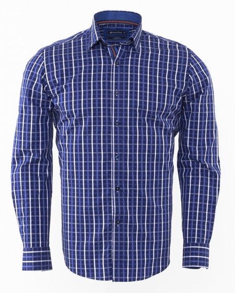 Oscar Banks - Luxury Oscar Banks Check Classical Long Sleeved Mens Shirt SL 5844 (Thumbnail - )
