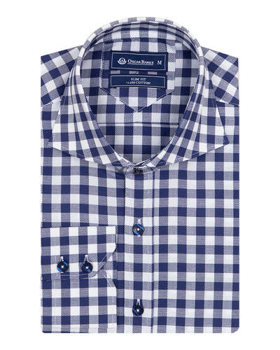 Oscar Banks - Luxury Oscar Banks Check Classical Long Sleeved Mens Shirt SL 5949 (1)