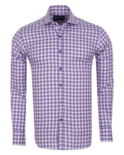 Oscar Banks - Luxury Oscar Banks Check Classical Long Sleeved Mens Shirt SL 5949 (Thumbnail - )