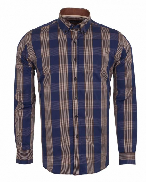 Oscar Banks - Luxury Oscar Banks Check Long Sleeved Mens Shirt SL 5690 (Thumbnail - )
