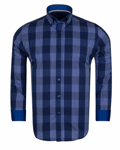 Oscar Banks - Luxury Oscar Banks Check Long Sleeved Mens Shirt SL 5690
