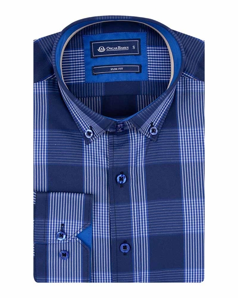 Oscar Banks - Luxury Oscar Banks Check Long Sleeved Mens Shirt SL 5690 (1)