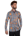 Luxury Oscar Banks Printed Mens Satin Shirt SL 7094 - Thumbnail