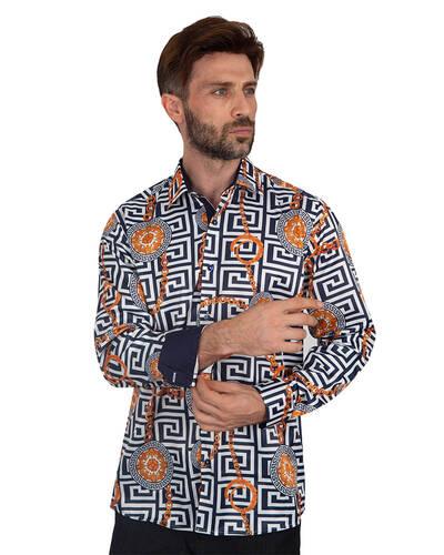 Luxury Oscar Banks Printed Mens Satin Shirt SL 7094