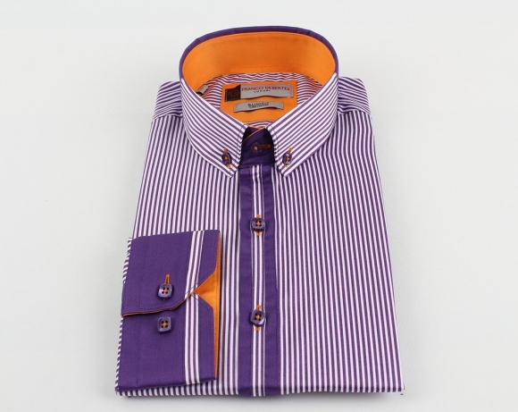 OSCAR BANKS - Luxury Paisley Printed and Striped Long Sleeved Mens Shirt SL 524 (Thumbnail - )