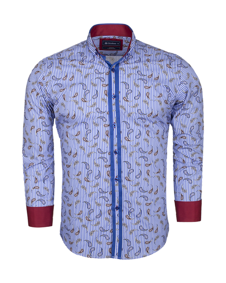 Luxury Paisley Printed and Striped Long Sleeved Mens Shirt SL 524