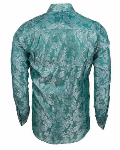 MAKROM - Luxury Paisley Printed Satin Long Sleeved Mens Shirt SL 446 (1)