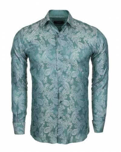 MAKROM - Luxury Paisley Printed Satin Long Sleeved Mens Shirt SL 446