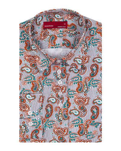 MAKROM - Luxury Paisley Printed White Womens Shirt LL 3323