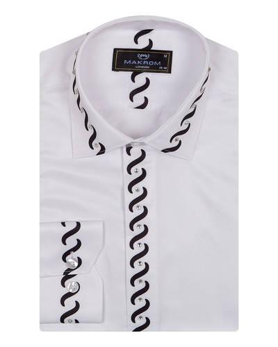MAKROM - Luxury Patterns Printed Long Sleeved Fashion Mens Shirt SL 6901 (1)
