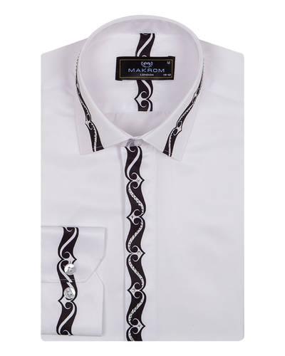 MAKROM - Luxury Patterns Printed Long Sleeved White Mens Shirt SL 6900 (1)