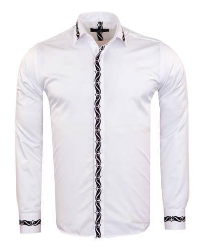 MAKROM - Luxury Patterns Printed Long Sleeved White Mens Shirt SL 6900