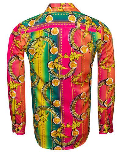 Luxury Patterns Printed Oscar Banks Satin Mens Shirt SL 6941