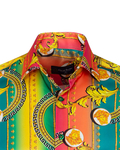 Luxury Patterns Printed Oscar Banks Satin Mens Shirt SL 6941 - Thumbnail
