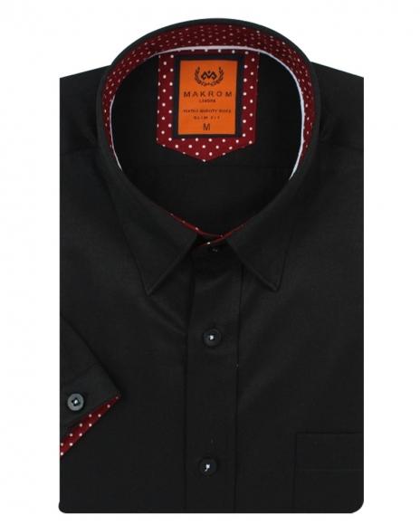MAKROM - Luxury Plain Short Sleeved Shirt SS 6084 (Thumbnail - )