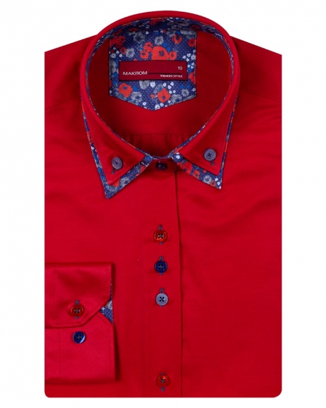 MAKROM - Luxury Plain Womens Long Sleeved Shirt With Details LL 3300 (Thumbnail - )