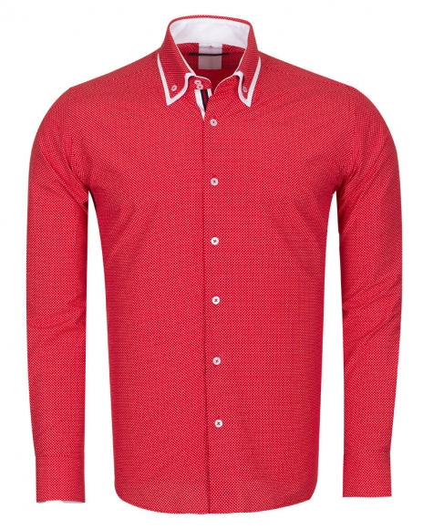 MAKROM - Luxury Polka Dot Printed Colorful Long Sleeved Mens Double Collar Shirt SL 6676 (Thumbnail - )