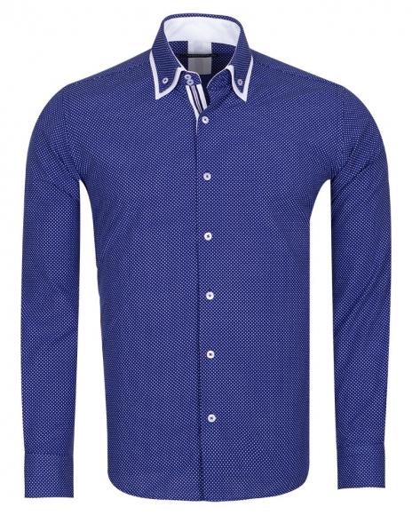 MAKROM - Luxury Polka Dot Printed Colorful Long Sleeved Mens Double Collar Shirt SL 6676 (1)