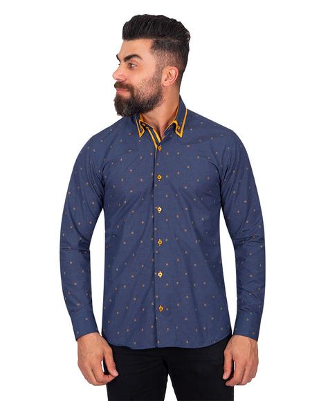 MAKROM - Luxury Polka Dot Printed Long Sleeved Double Collar Mens Shirt SL 6816